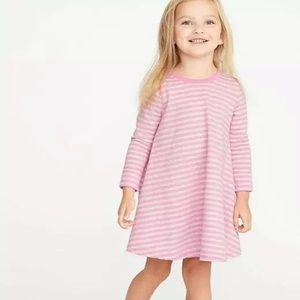 Pink gray striped terry flare dress